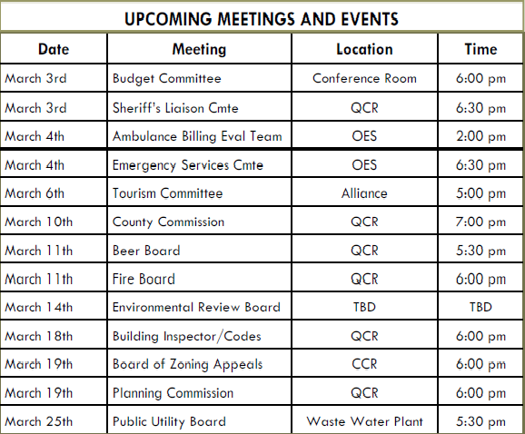 Meeting Schedule for Roane County in March – Meeting Schedule